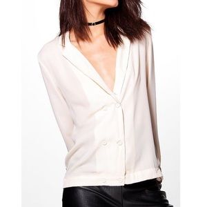 NWT Boohoo Double Breast Chiffon Top